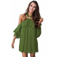 Black Adorable Sexy O Ring Detail Ruffle Dress Green