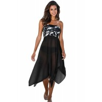Black & White Monochrome Print Sarong Cover up