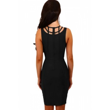 Black Cage Top Bandage Mini Dress