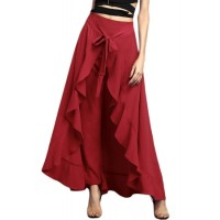 Black Chiffon Tie-Waist Ruffle Palazzo Pants Grey Blue Red