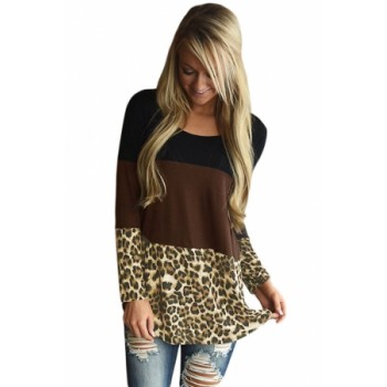 Black Coral Block Plaid Splice Long Sleeve Top Leopard