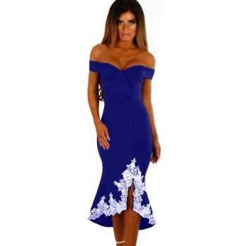 Black Crochet Hem Bardot Midi Dress Blue