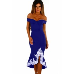Black Crochet Hem Bardot Midi Dress Blue