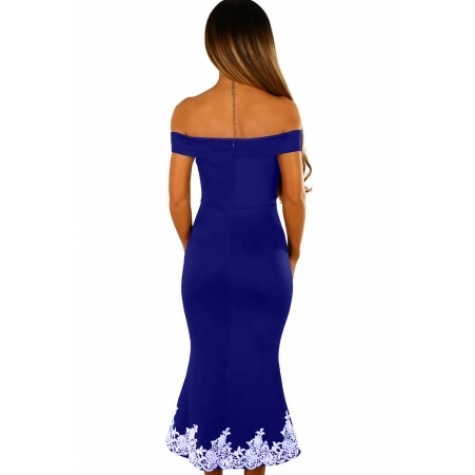 Black Crochet Hem Bardot Midi Dress Blue Black Crochet