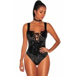 Black Crushed Velvet Lace Up Bodysuit