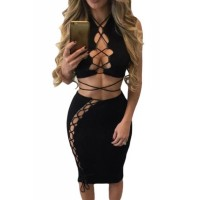 Black Daring Sexy Lace Up Cut Out 2pcs Club Dress