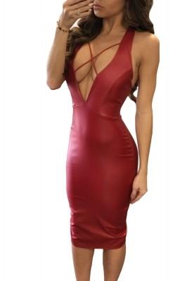 Black Daring V Neck Open Back Faux Leather Midi Dress Red
