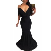 Black Draped V Neck Sexy Mermaid Party Dress