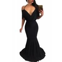 Black Draped V Neck Sexy Mermaid Party Dress