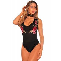 Black Embroidered Rose Choker Bodysuit