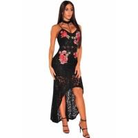 Black Floral Lace Choker High Low Dress