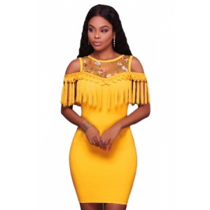 Black Floral Mesh Yoke Fringe Bodycon Mini Dress Yellow Blue