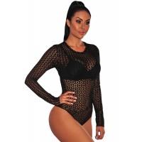 Black Flowery Net Long Sleeves Bodysuit