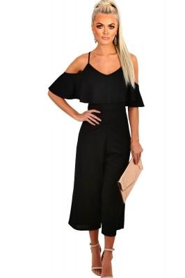 Black Frill Culotte Jumpsuit