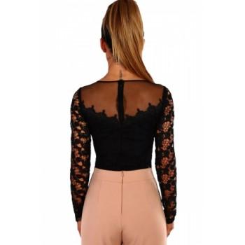 Black Glam Crochet Mesh Bodysuit