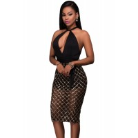 Black Gold Plaid Sequin Multi-Way Club Dress