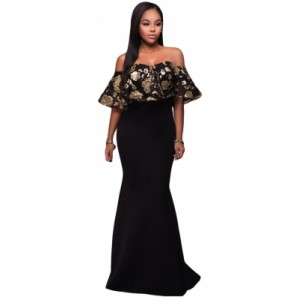 Black Gold Sequins Ruffle Strapless Long Dress