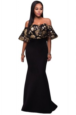 Black Gold Sequins Ruffle Strapless Long Dress