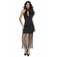 Black High Halterneck Fringe Hem Maxi Dress