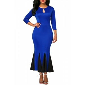 Black Keyhole Front Flounce Hem Vintage Dress Blue Green