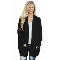 Black Knit Texture Long Cardigan Mustard Gray Army