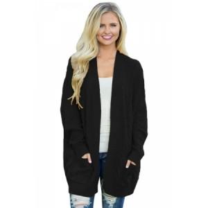 Black Knit Texture Long Cardigan Mustard Gray Army