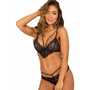 Black Lace Trim Strappy Bralette