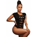 Black Lace up Front Bodysuit White