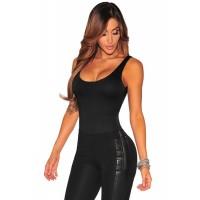 Black Low Neckline Scoop Back Bodysuit Gray