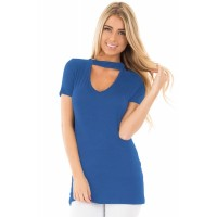 Black Mock Neck Cut out Short Sleeve Top Blue