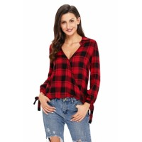 Black Red Plaid Drape Top Mustard