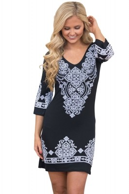 Black Retro Tribal Pattern Short Dress Rosy