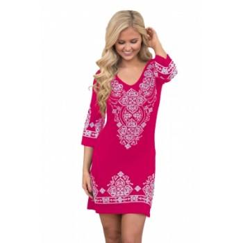 Black Retro Tribal Pattern Short Dress Rosy