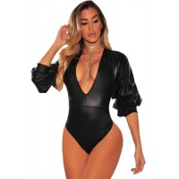 Black Ruched Ruffle Sleeve Leatherette Bodysuit
