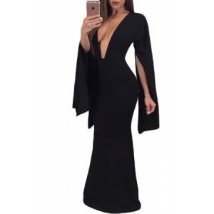 Black Sexy Plunge Split Long Sleeve Maxi Dress