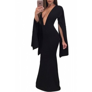 Black Sexy Plunge Split Long Sleeve Maxi Dress