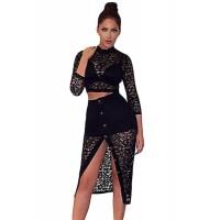 Black Sheer Lace Crop Top Midi Split Skirt Set