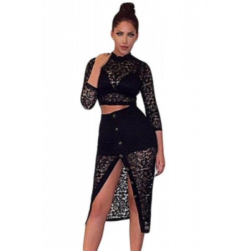 black sheer lace crop top midi split skirt set black