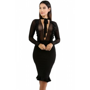 Black Sheer Mesh Insert Ruffle Trim Bodycon Dress