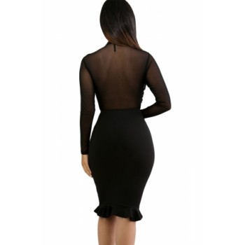 Black Sheer Mesh Insert Ruffle Trim Bodycon Dress