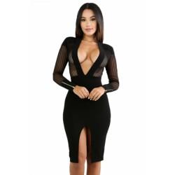 Black Sheer Pinstripe Mesh Accent Midi Bodycon Dress