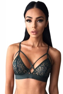 Black Strappy Harness Bralette Bra