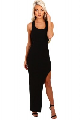 Black Strappy Side Split Maxi Dress
