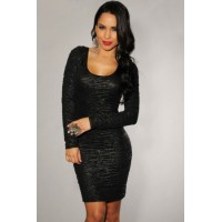 Black Textured Lace-Up Back Dress