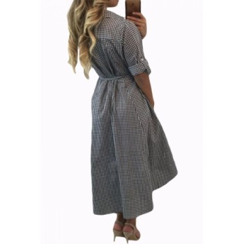 Black White Plaid High-low Shirt Dress