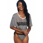Black White Striped Beach Shirt and Bikini Bottoms