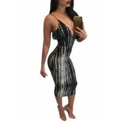 Black White Tie Dye Print Spaghetti Strap Dress