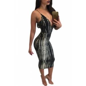 Black White Tie Dye Print Spaghetti Strap Dress