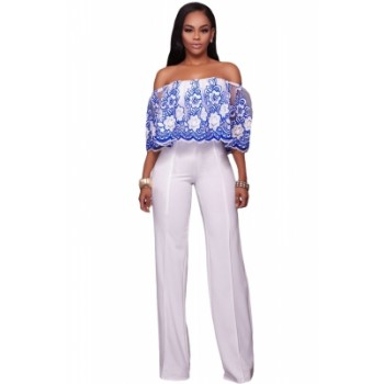 Blue Embroidery Ruffle Overlay Strapless Jumpsuit Black