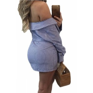 Blue Striped Tie Front Off The Shoulder Mini Dress